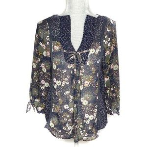 Zara Blouse Tie Front Elbow Length Sleeve Floral